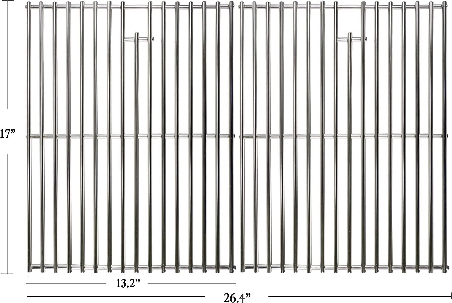 """Hisencn 17 inch Grill Cooking Grates Replacement Parts for Home Depot Nexgrill 720-0830H, 720-0830D, Nexgrill 720-0783E, 720-0783C, Kenmore, Uniflame Gas Grils, 17"""" Stainless Steel Cooking Grids"""