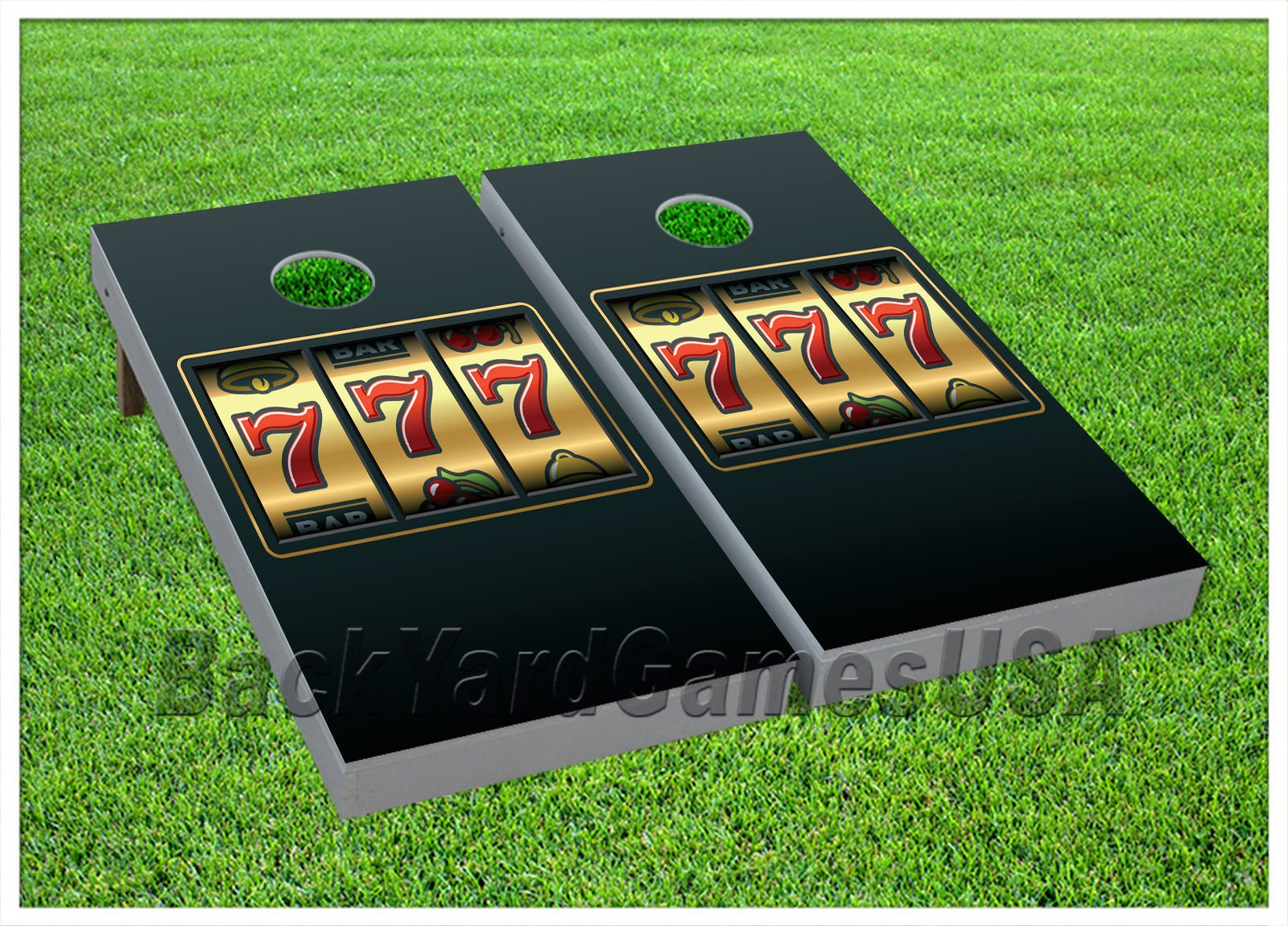 CORNHOLE BEANBAG TOSS GAME w Bags Game Boards Casino Lucky 7's Gold 903 by BackYardGamesUSA