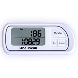OneTweak Pedometer for Walking! Back-to-Basics Clip-on Step Counter w/lanyard