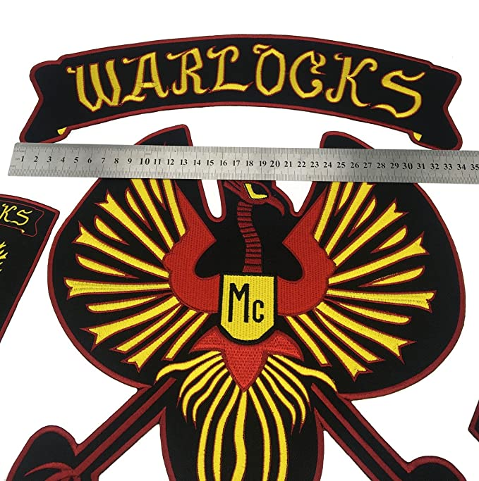 NEW ARRIVAL WARLOCKS Motorcycle Patch 1% Biker Rider Vest MC Embroidered  Patch Iron On Back of Jacket Patch G0434 (35cm)