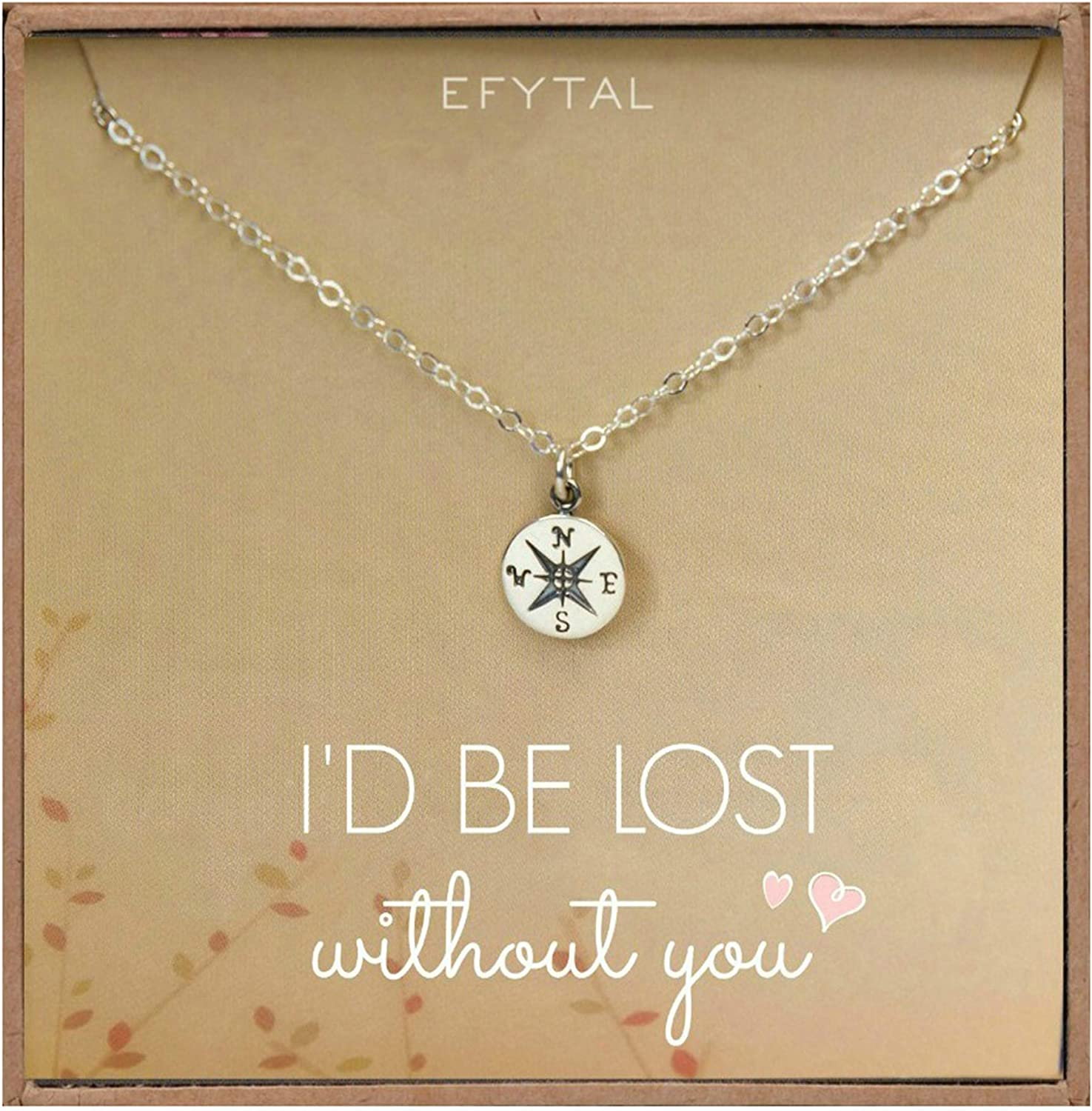 Amazon Com Necklace Gift For Girlfriend Wife Sterling Silver Cute I Love You Compass Heart Jewelry For Her I D Be Lost Without You Valentines Day Romantic Anniversary Birthday Gift Ideas Clothing