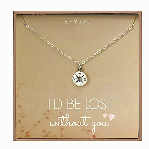 16d04f69cab2a Necklace Gift for Girlfriend/Wife, Sterling Silver Cute I Love You Compass  Heart Jewelry for Her, Valentines Day
