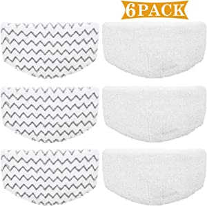 6 Pack Replacement Steam Mop Pads for Bissell Powerfresh Steam Mop 1940 1440 1544 1806 2075 Series, Model 19402 19404 19408 19409 1940a 1940f 1940q 1940t 1940w B0006 B0017,Washable Cleaning Pad