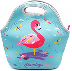 Kids Cute Insulated Lunch Bag Neoprene Lunch Tote School Girls Travel Thermal Lunch Box Container Case For Women (Flamingo)