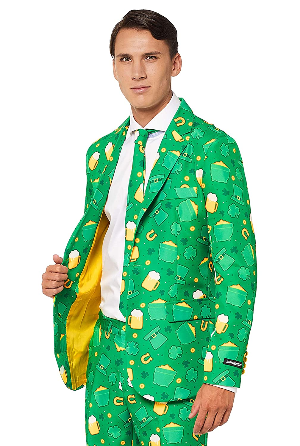 1ac48de63 Suitmeister Patrick Clover Suit with Shamrock Print for Men Coming with  Green Pants, Jacket, Tie at Amazon Men's Clothing store: