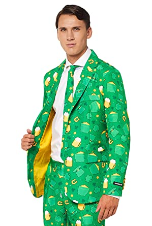 4644de60 Suitmeister Patrick Clover Suit with Shamrock Print for Men Coming with  Green Pants, Jacket, Tie at Amazon Men's Clothing store: