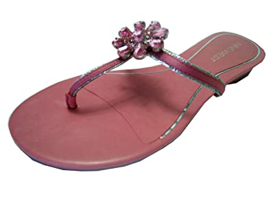 1a48b43610ed01 Nine West Flip Flop Thong Sandal Shoes with Crystal Flower Leather Black or  Pink (6.5