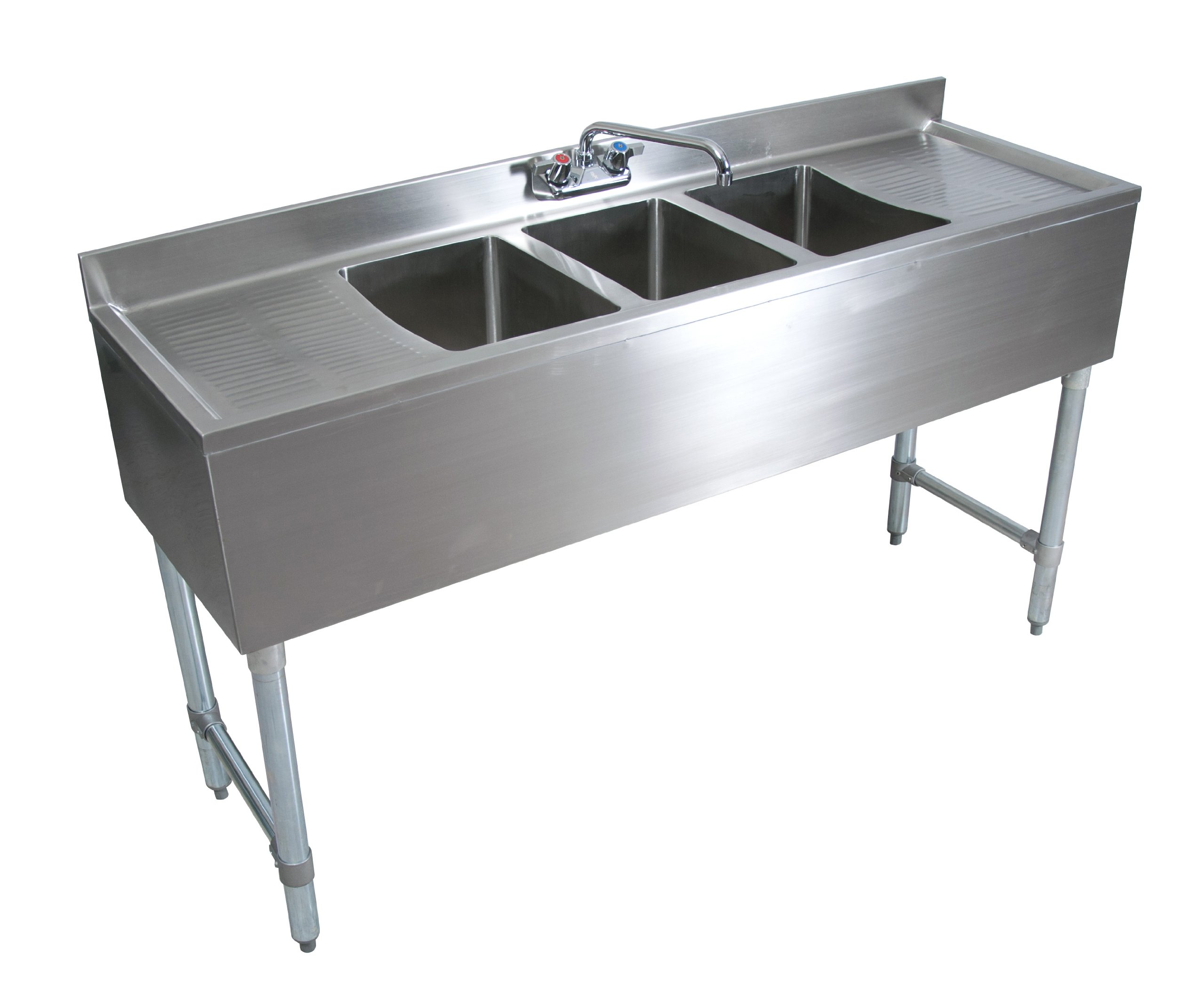 John Boos EUB3S60-2D Stainless Steel Underbar Sink, 3 Bowls, Left Hand and Right Hand Drain Boards, Splash Mount Faucet, 32.5'' Height x 21'' Width x 60'' Length