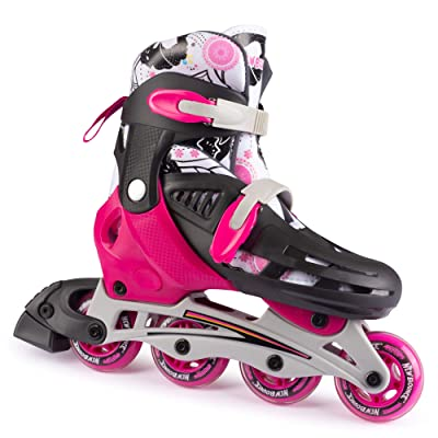 New Bounce Inline Skates for Kids - Adjustable 4 Wheel Blades Roller Skates for Girls, Teens, and Young Adults, Outdoor Rollerskates for Beginners & Advanced | Pink : Sports & Outdoors
