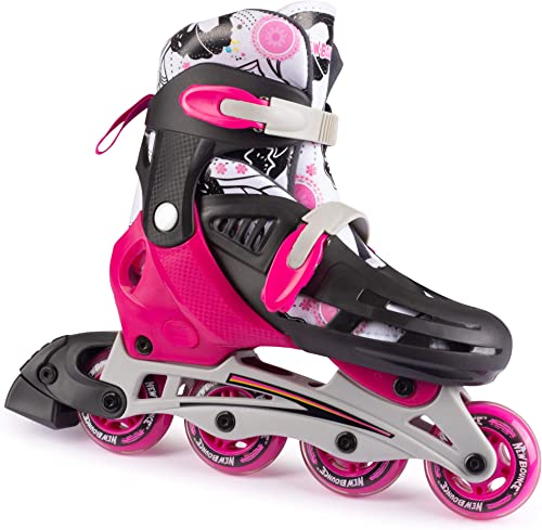 New Bounce Inline Skates for Kids – Adjustable 4 Wheel Blades Roller Skates for Girls, Teens, and Young Adults, Outdoor Rollerskates for Beginners Advanced Pink