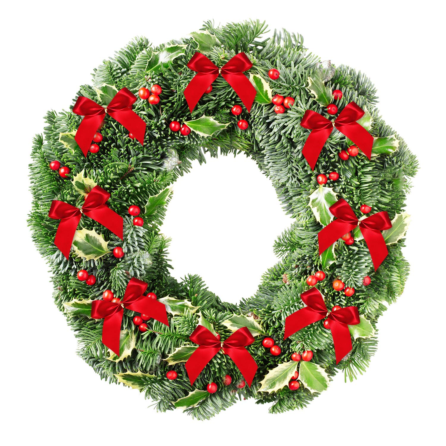 Red, Size S, 48 Pieces Christmas Wreath Gift Decoration Sumind Christmas Bow Ribbon Bow for Christmas Tree