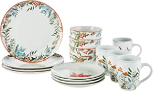 American Atelier Floral winter Holiday Dinnerware Set – 16-Piece Christmas-Themed Stoneware Party Collection w/ 4 Dinner Salad Plates, 4 Bowls & 4, 12 X 12 X 12