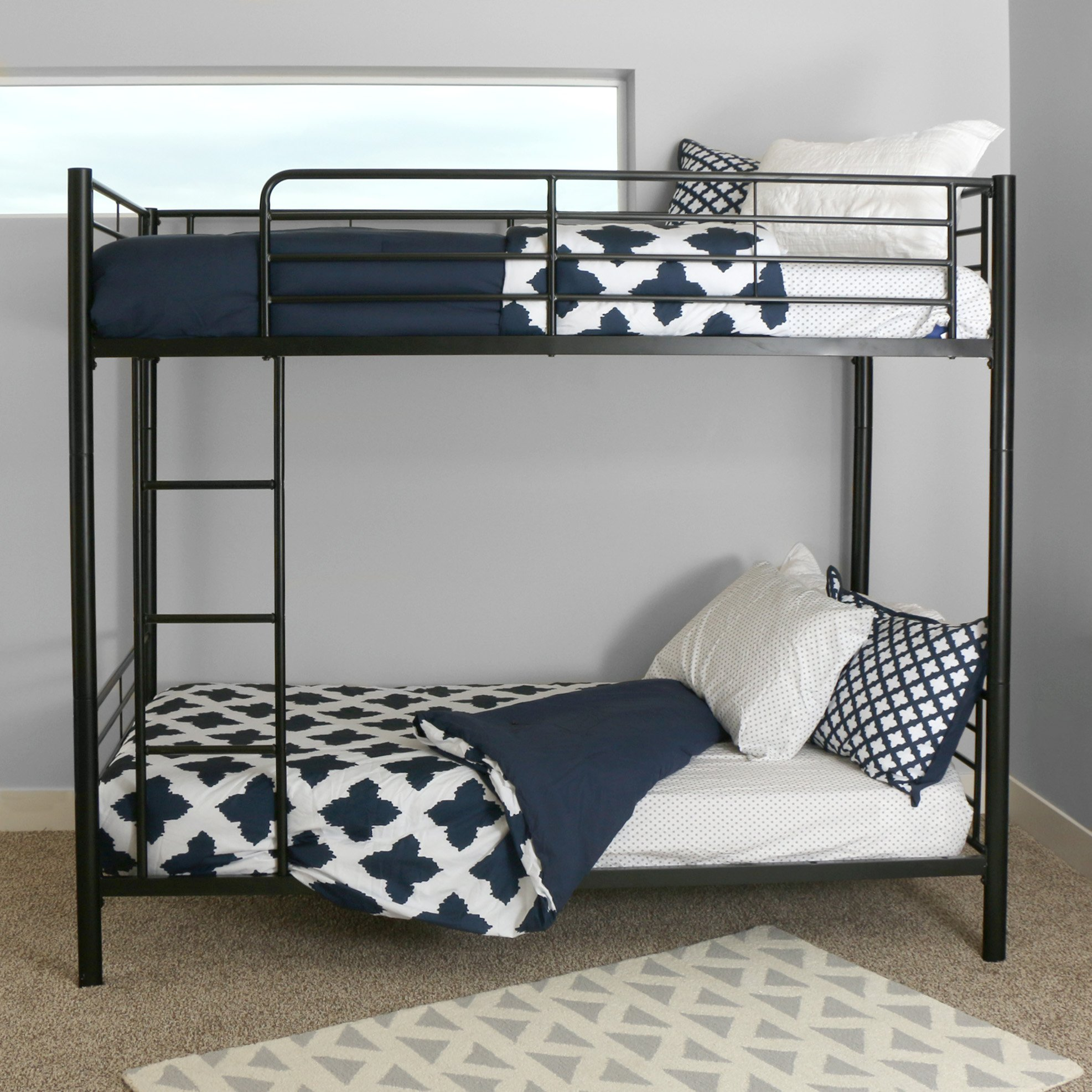 Sturdy Metal Twin-over-Twin Bunk Bed in Black Finish by Home Accent Furnishings (Image #4)