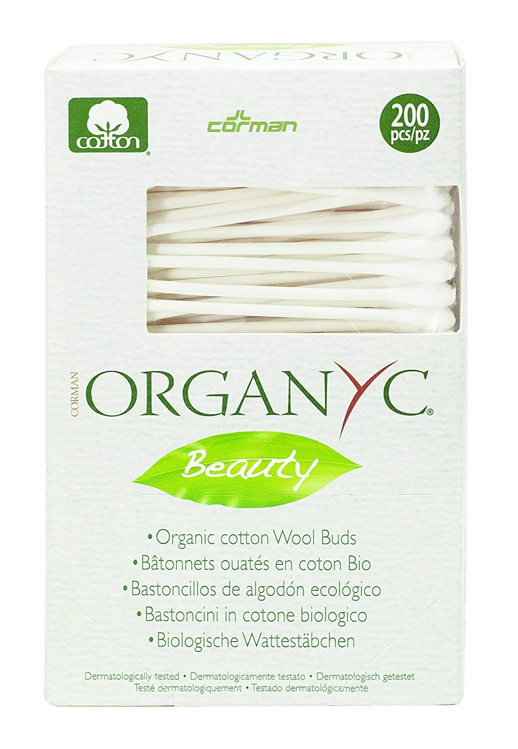 Organyc 100% Organic Cotton Swabs for Sensitive Skin, 200 Swabs Corman U.S.A. R00702