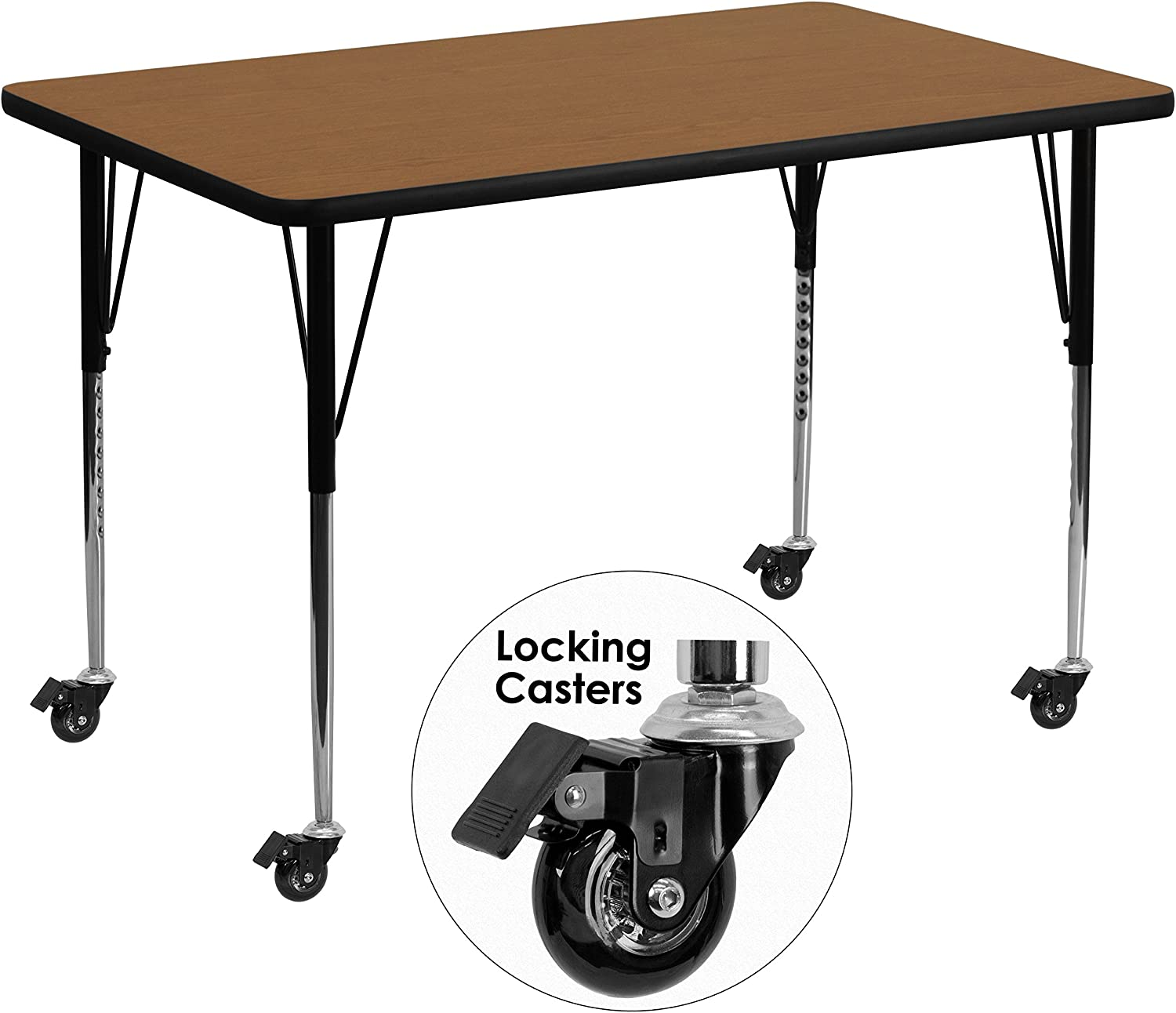 MFO Mobile 36W x 72L Rectangular Activity Table with Oak Thermal Fused Laminate Top and Standard Height Adjustable Legs