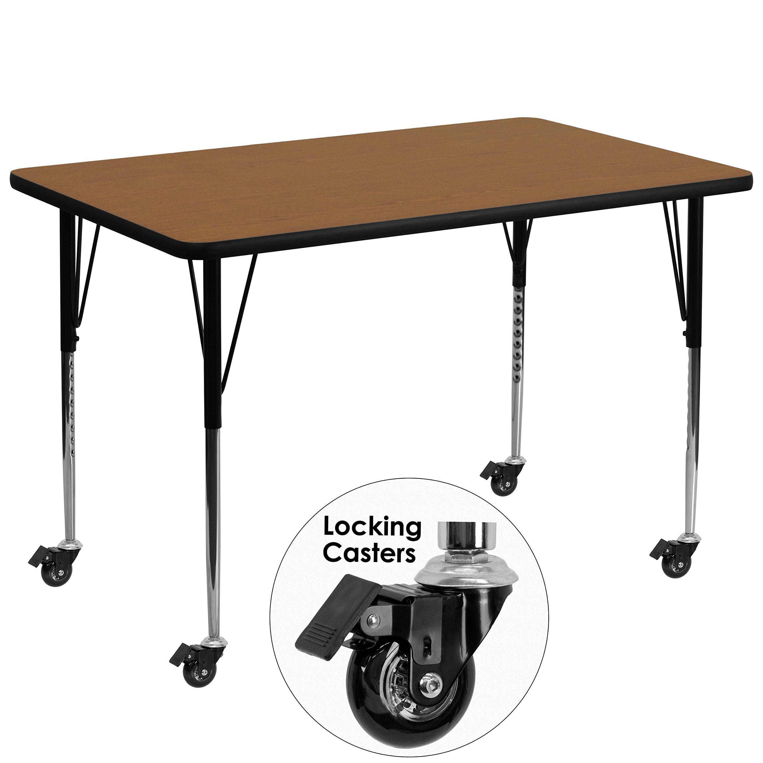 Flash Furniture Mobile 36''W x 72''L Rectangular Oak Thermal Laminate Activity Table - Standard Height Adjustable Legs