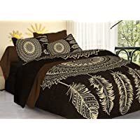 Tiger Exports 100% Cotton Rajasthani Tradition Print King Size Double Bedsheet with 2 Pillow Covers