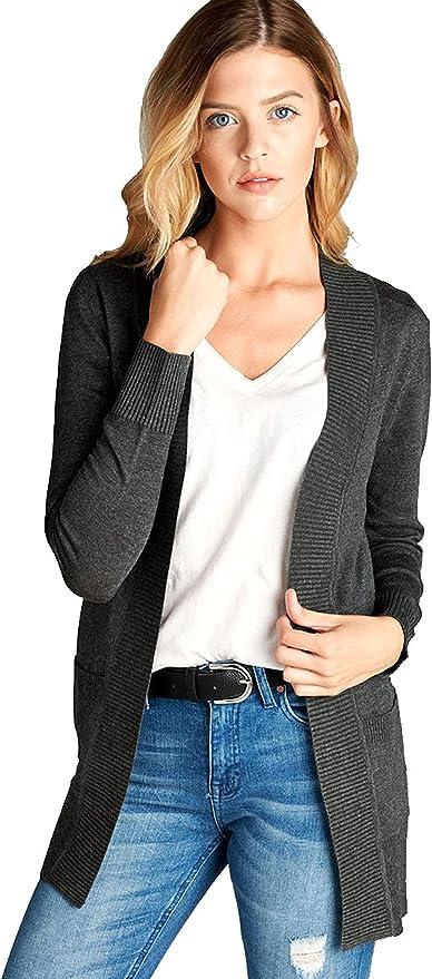 FINMYE Womens Lightweight Waffle Cardigans Open Front Long Sleeve Cardigan Sweater