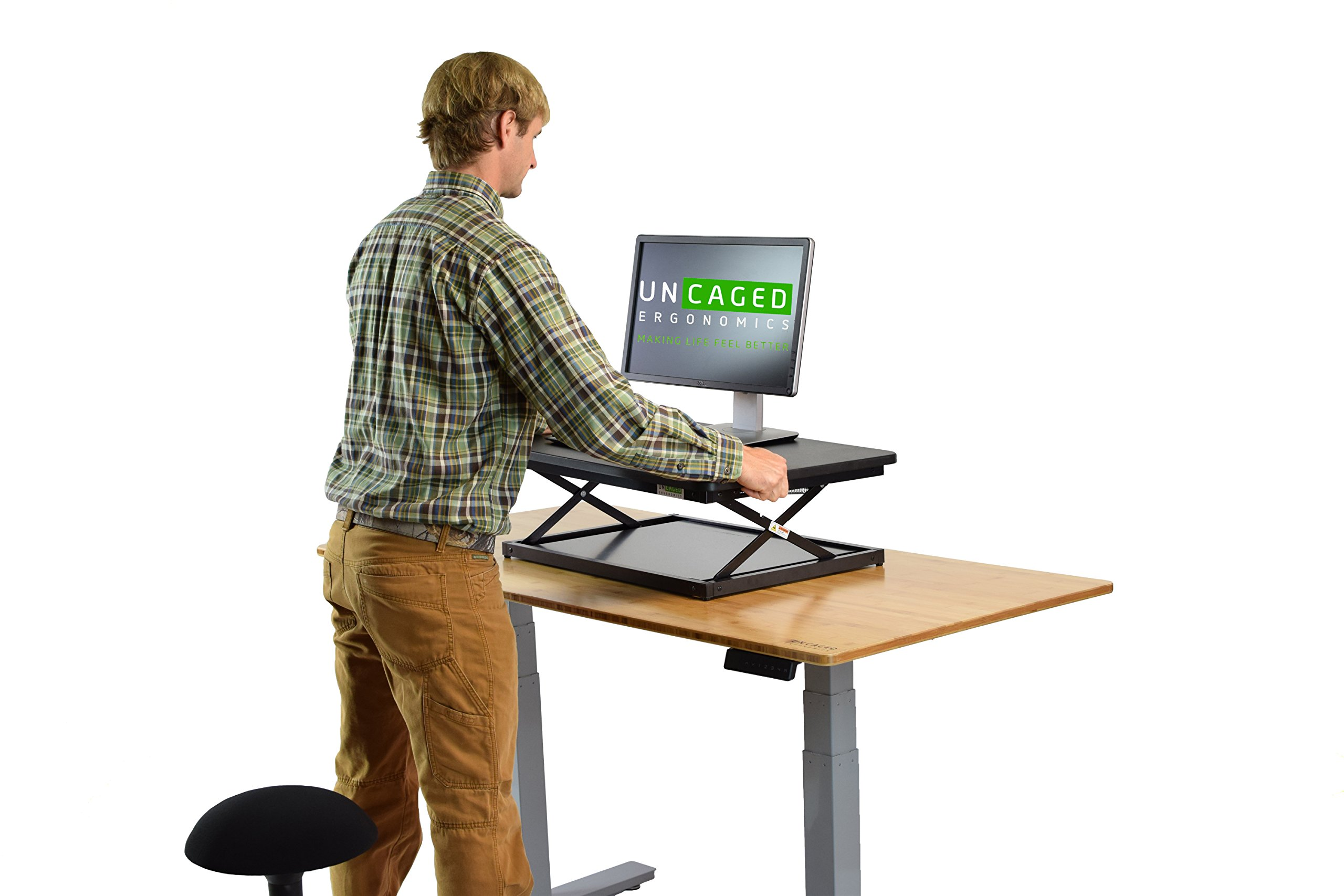 CHANGEdesk Mini Small Adjustable Height Standing Desk Converter for Laptop MacBook Single Monitor Desktop Computer Portable Lightweight Ergonomic sit Stand up Corner Riser Affordable Compact Tabletop by Uncaged Ergonomics (Image #3)