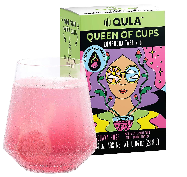 QULA Kombucha Drink Tabs (Queen of Cups GUAVA ROSE flavor) Transform water into delicious KOMBUCHA with probiotics, no added sugar, under 5 calories, KETO Water Enhancer (6 drinks) …