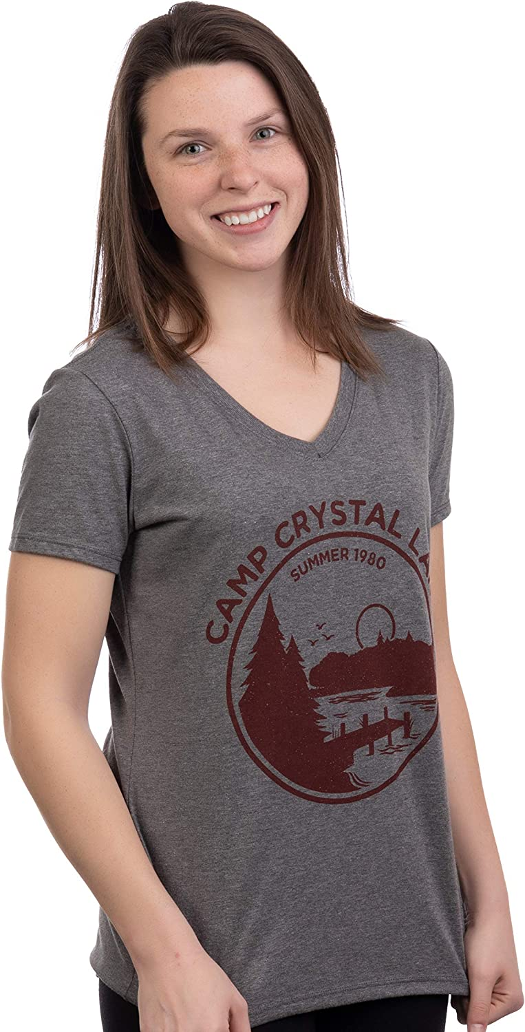 1980 Camp Crystal Lake Counselor | Funny 80s Horror Movie Fan Women Top T-Shirt: Clothing