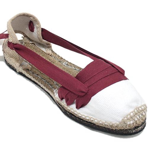 Espardenya.cat Alpargatas Tradicionales Planas Suela de Goma Diseño Tres Vetas o Tabernero Color Granate: Amazon.es: Zapatos y complementos