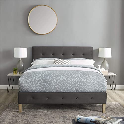 Classic Brands Seattle Modern Tufted Upholstered Platform Bed | Headboard Frame