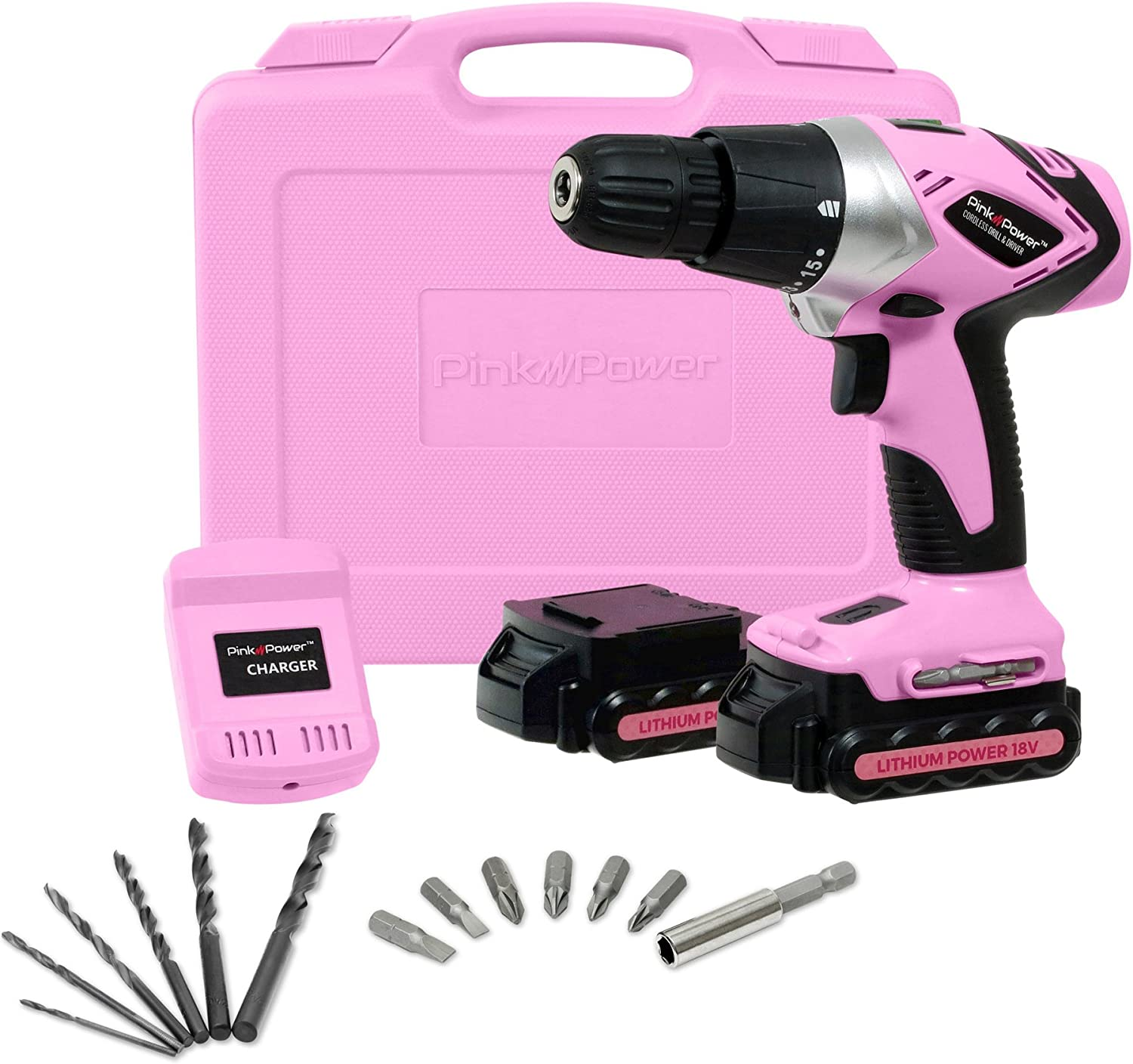 Pink Power PP182LI 18 Volt Lithium-Ion Cordless Electric Drill Driver Kit for Women- Tool Case, Drill Set, 2 Batteries Charger
