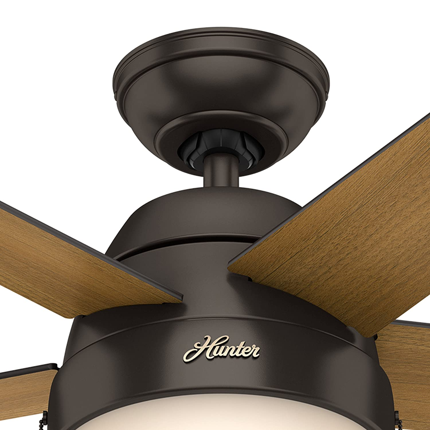 Hunter Fan 46 inch Contemporary Ceiling Fan with Light in Premier Bronze Renewed Premier Bronze