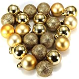Panlom® Pack 24 Christmas Tree Baubles Balls Onaments Shatterproof Decorations Ideal for Xmas Tree, wedding decoration (Gold)