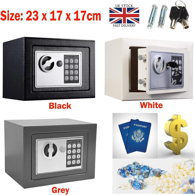 Caja de seguridad digital pequeña de 4,6 l con cerradura de combinación y código de pin para dinero, documentos en casa, diseño montado en la pared, color gris (23 x 17 x