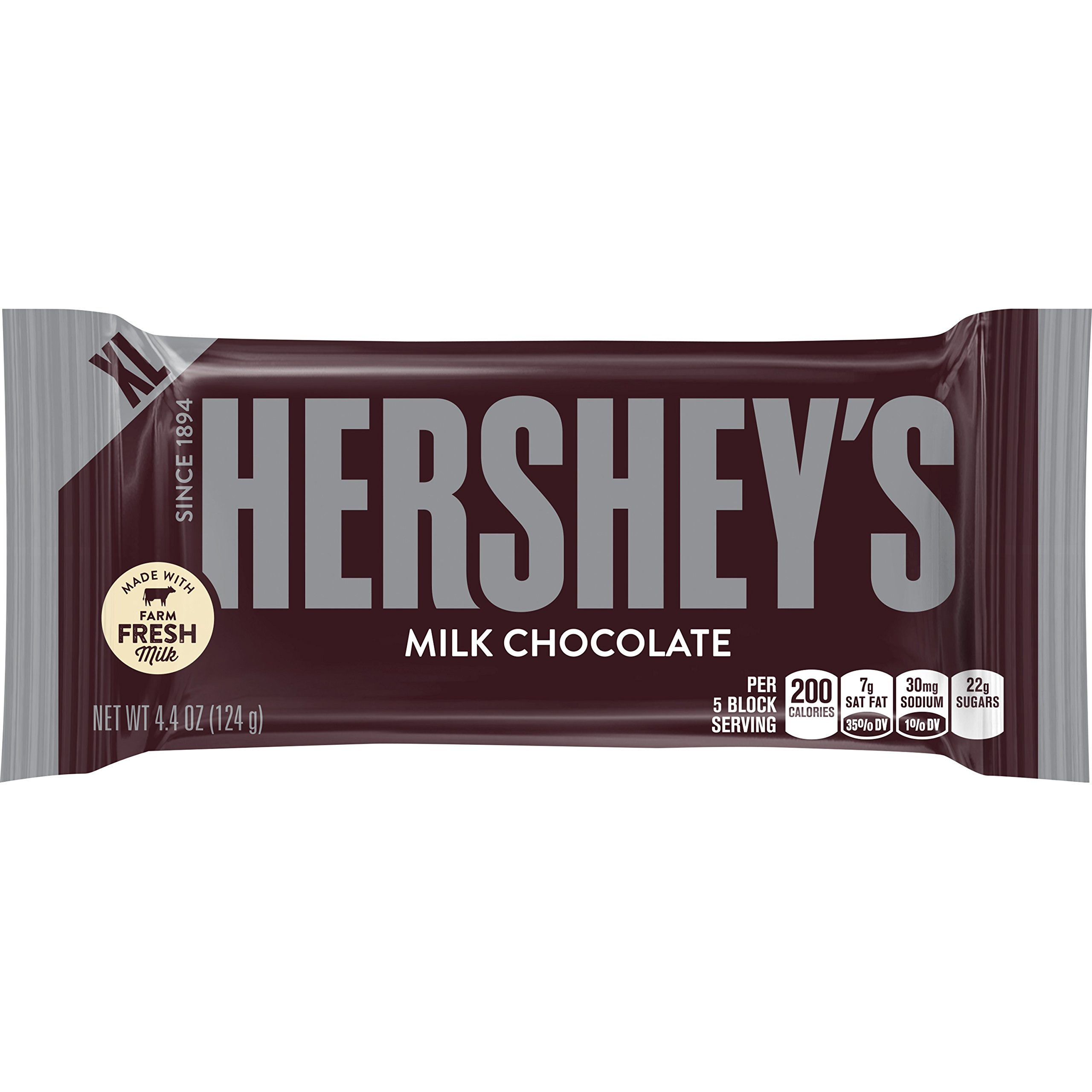HERSHEY'S Chocolate Bar, Milk Chocolate Candy Bar, 4.4 Ounce Bar (Pack of 12)