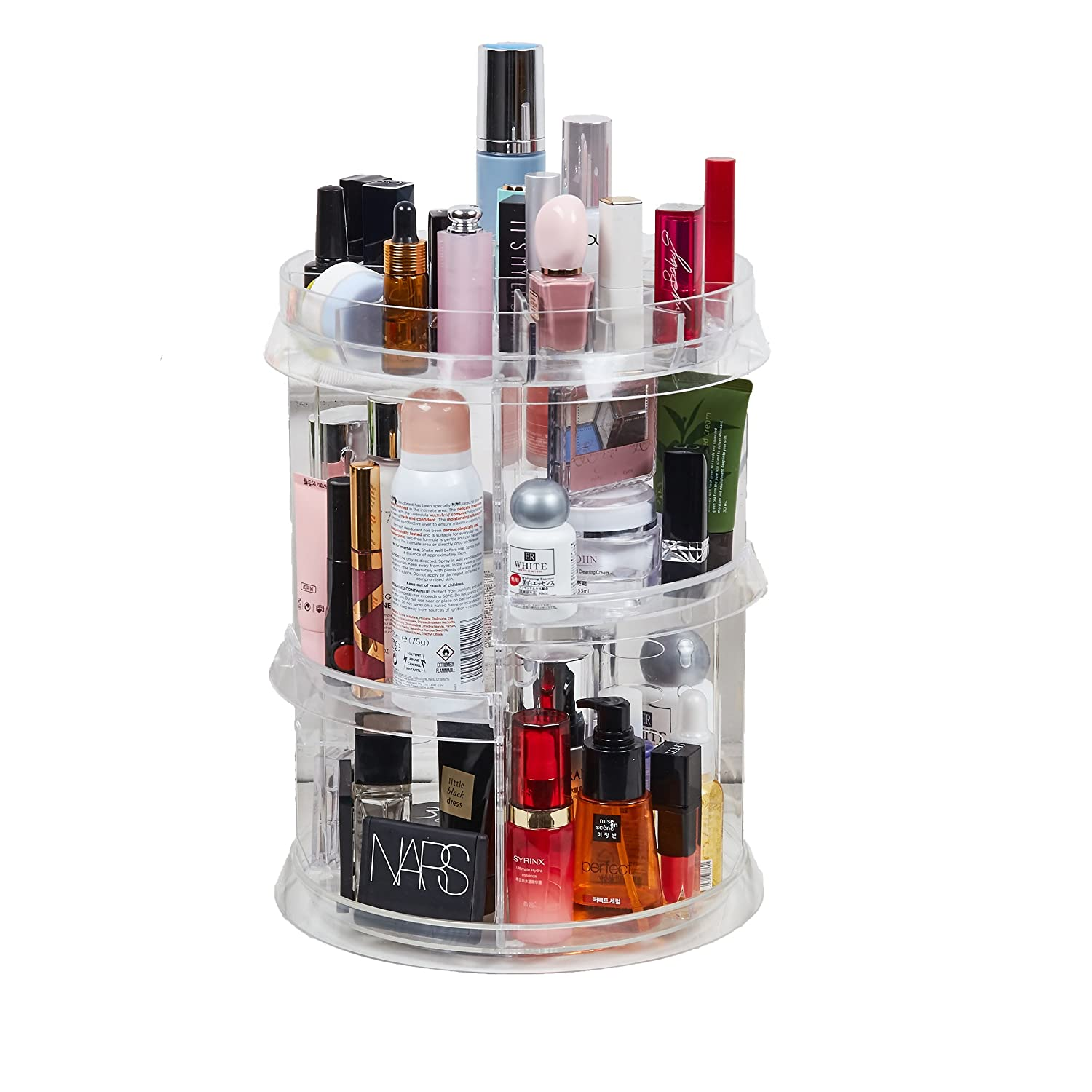 [Upgraded Design] 360 Degree Luxury Rotating Makeup/Perfume Organizer Storage Carousel-Adjustable Layers, Fits Different Containers, for vanity table, dresser, bedroom, bathroom and all! CloverIsland