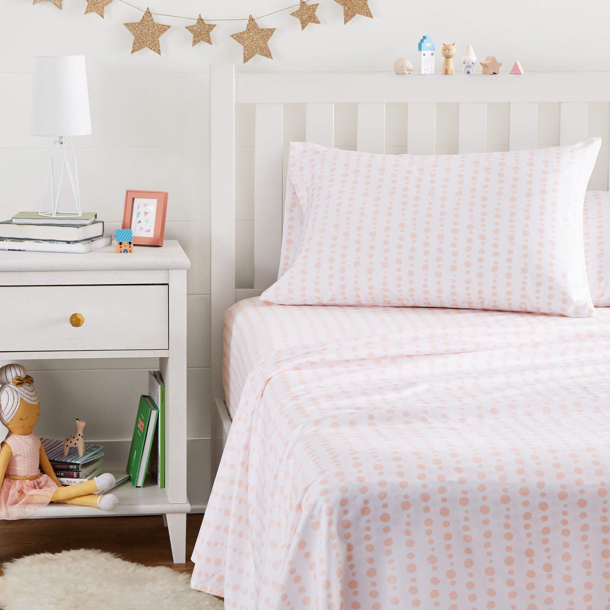 AmazonBasics Kid's Sheet Set - Soft, Easy-Wash Microfiber - Twin, Pink Dotted Stripes by AmazonBasics (Image #3)