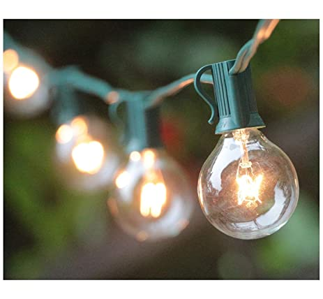 25FT G40 Globe String Lights With 25 Clear Bulbs, Outdoor Market Lights For  Outdoor And