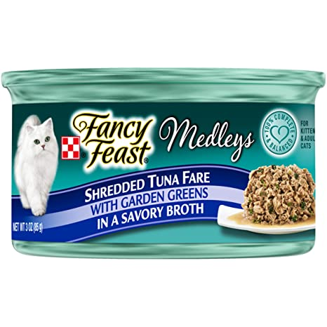df0ab7e68 Purina Fancy Feast Grain Free Broth Wet Cat Food; Medleys Shredded Tuna  Fare With Garden