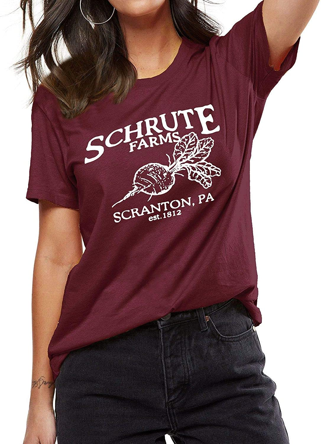 OUNAR Women Schrute Farms Shirt Cute The Office Graphic T-Shirt Sweatshirt with Pocket