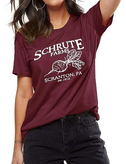 3a84124f OUNAR The Office Tshirt Schrute Farms Cute Graphic Tee for Women TV Show  Shirt T-Shirt