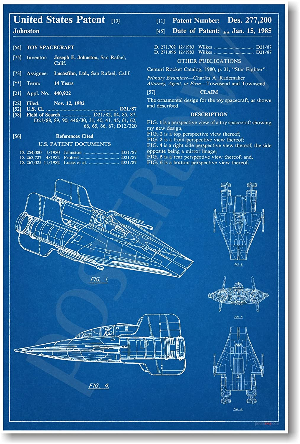 Amazon star wars a wing patent new famous invention blueprint amazon star wars a wing patent new famous invention blueprint poster posters prints malvernweather Images