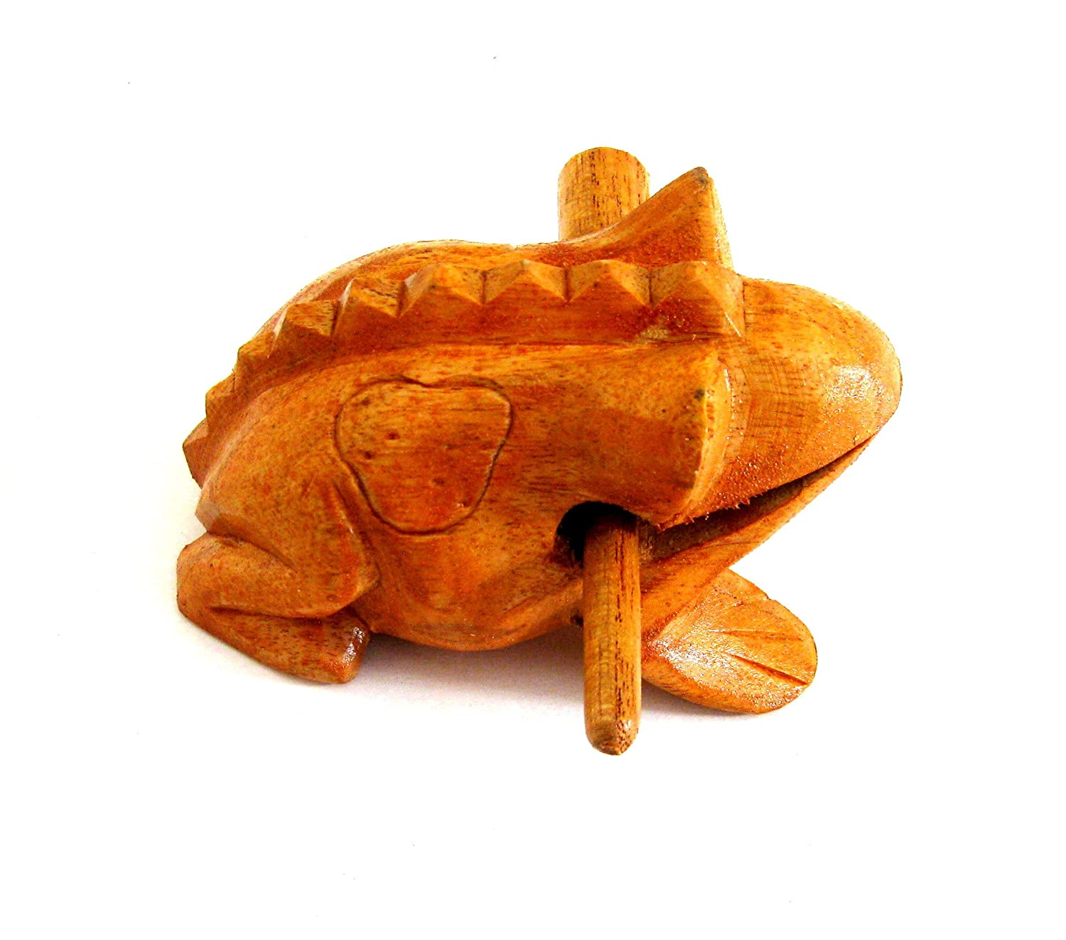 JIVE BRAND Wood Carved Large 6 Croaking Frog Guiro Rasp Croaking Frog Percussion