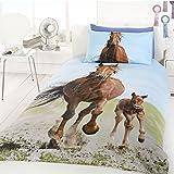 Follow My Lead Horse & Foal UK Single/US Twin Duvet and Pillowcase Set