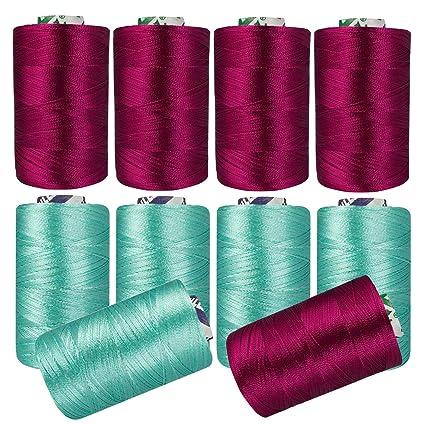 Amazon Maroon Sea Green Silk Yarn Machine Hand Embroidery