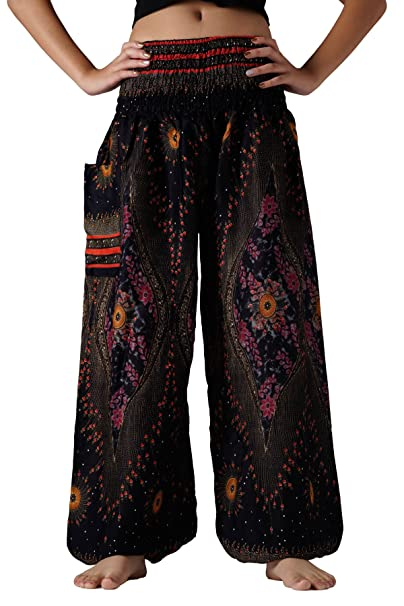 878574c6b47 Bangkokpants Plus Size Harem Pants Boho Clothing Hippie Peacock Size US  14-22 (Black
