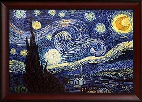 overstockArt Starry Night Framed Oil Reproduction of an Original Painting by Vincent Van Gogh, Oxblood Scoop, Deep Red Finish with Concave Detail