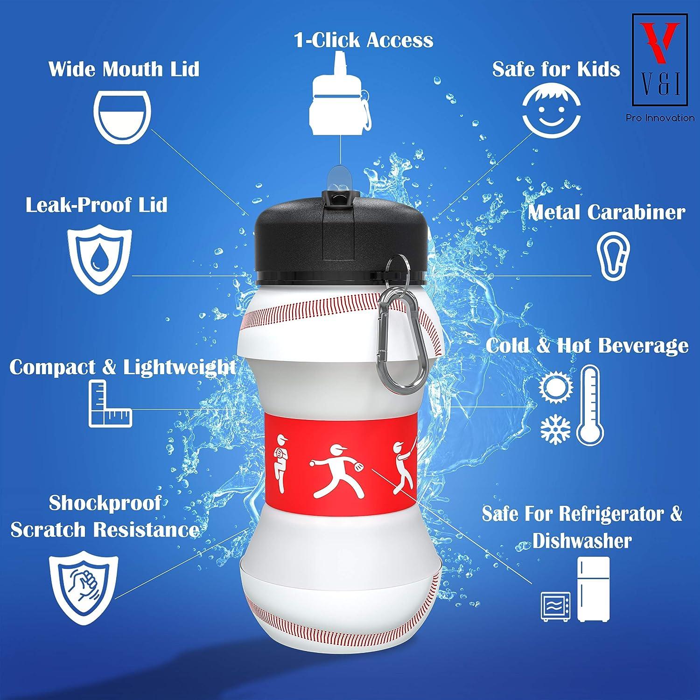 Kids Sports Water Bottle Basketball Baseball Soccer Ball-Shaped Design 19 oz Leak Proof Shockproof Reusable Squeezable Compact Collapsible Travel Bottle V/&I Pro Innovation