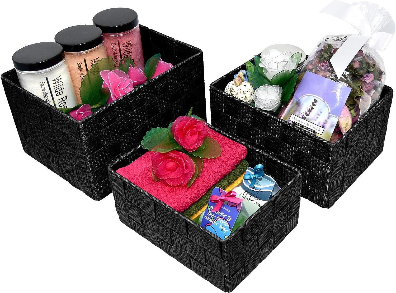 cestas de ba/ño en 5 colores 21 x 16 x 12 cm y 19 x 14 x 10 cm Lashuma tama/ño de la cesta: 24 x 18 x 14 cm 3 cajas vac/ías para estanter/ía