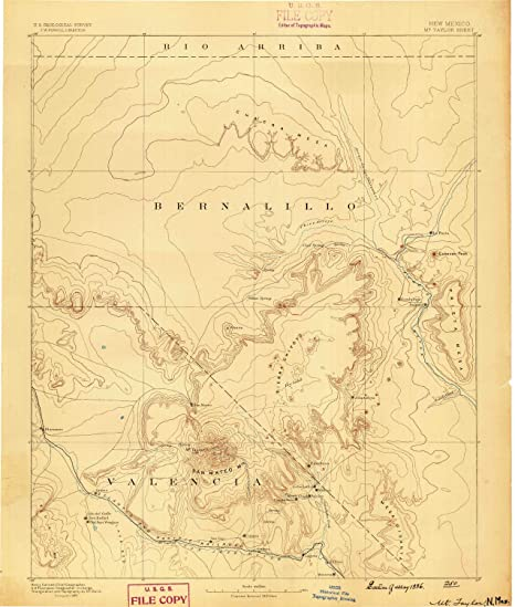 Mt Taylor NM topo map, 1:250000 scale, 1 X 1 Degree,