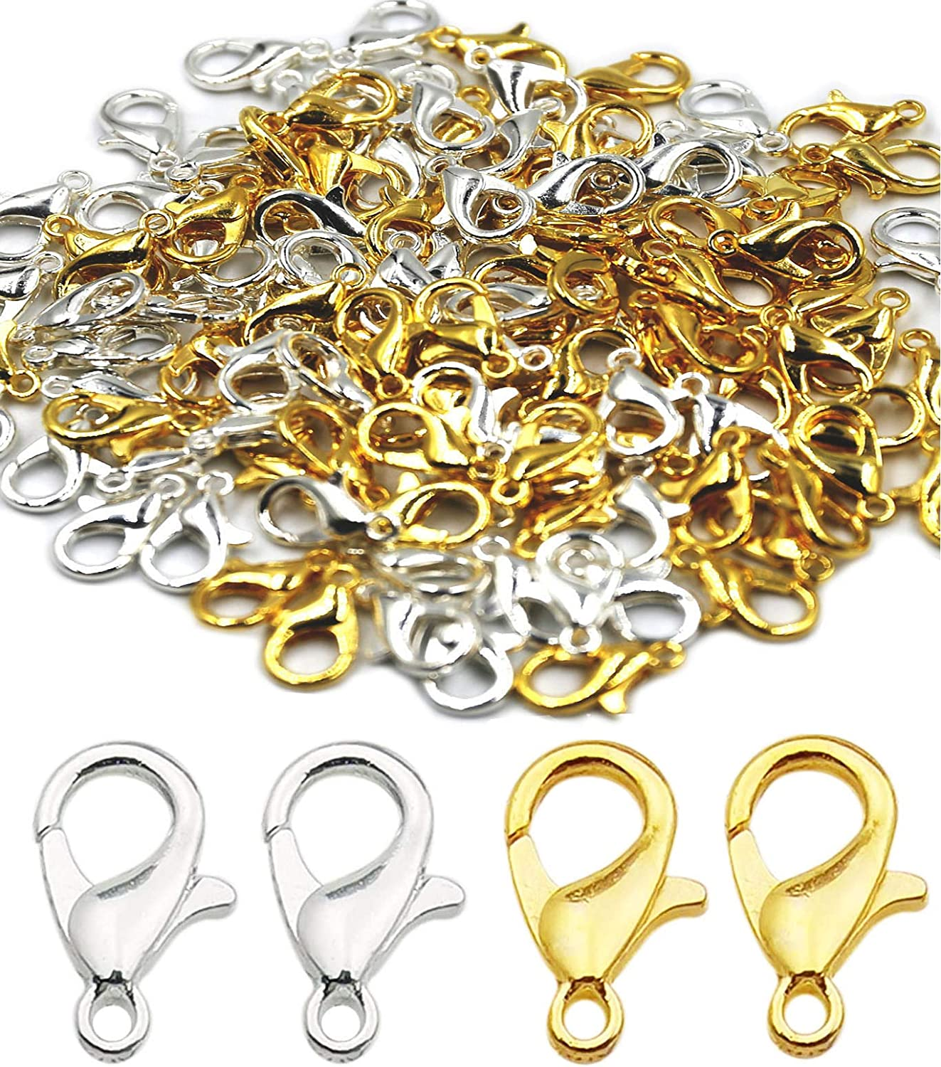 120pcs Mixed 304 Stainless Steel Lobster Claw Clasps DIY Necklace Jewelry Making