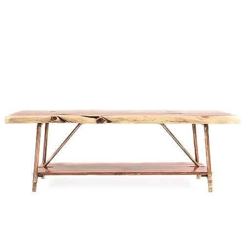 Niangua Furniture Live Edge Rustic Coffee Table – Cedar Wood – Metal Copper Pipe Legs – 48 x 23