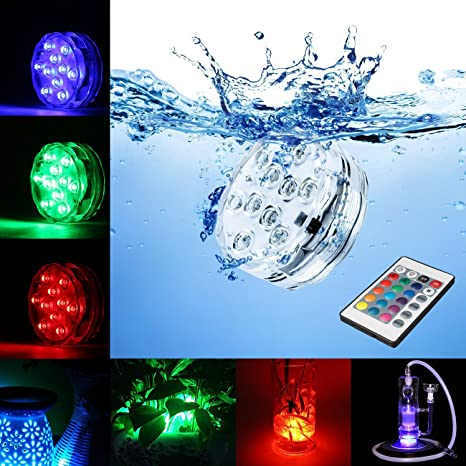 Foco LED sumergible con mando a distancia – 10 LEDs/16 colores – luz ambiental
